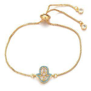 Small Gold Blue Hamsa Hand Boho CZ Bracelet